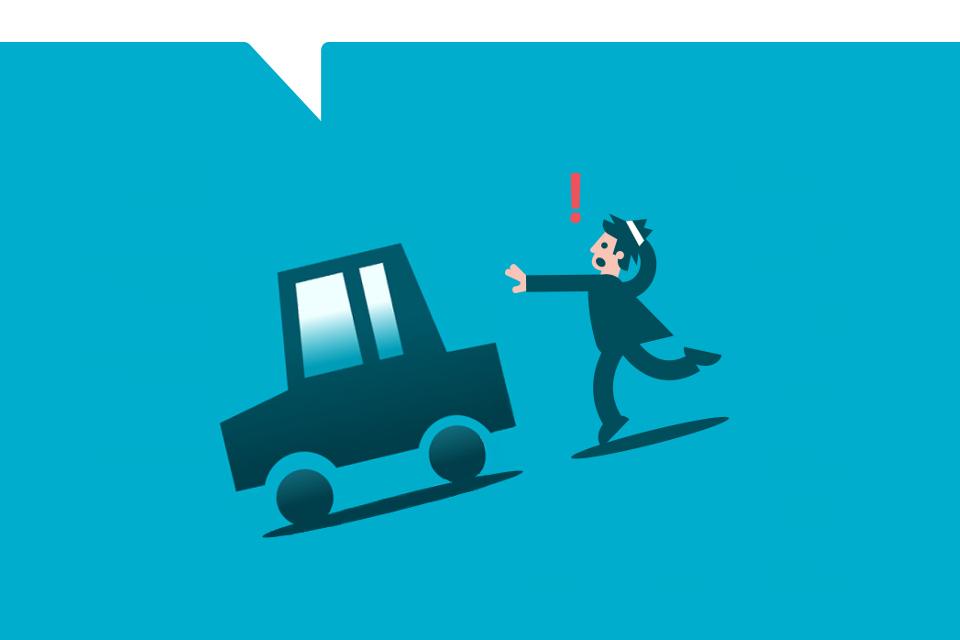 Daños al empujar un vehículo sin el freno de mano accionado